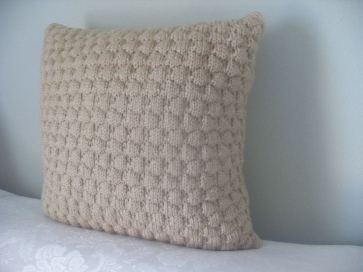 Best Pillow Inserts For Throw Pillows : Hand Knit 16x16? Throw Pillow PILLOW INSERT INCLUDED by Katy S. #HandmadebyKatyS #VintageRetro ...