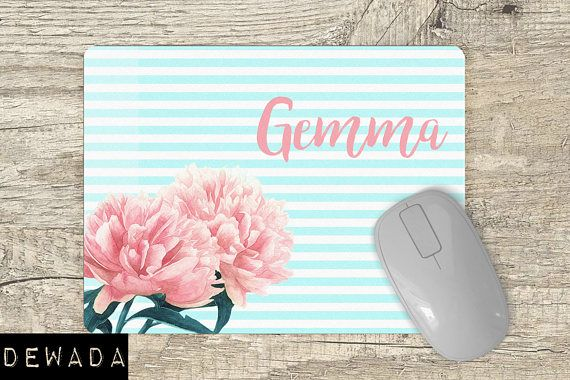 Personalized Mouse Pad floral  pink flowers  blue and white stripes