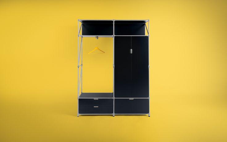 Der modulare Garderoben Kleiderschrank mit Türen und Schubkästen ist flexibel erweiterbar. Individuelle Anpassungen sind jederzeit möglich.