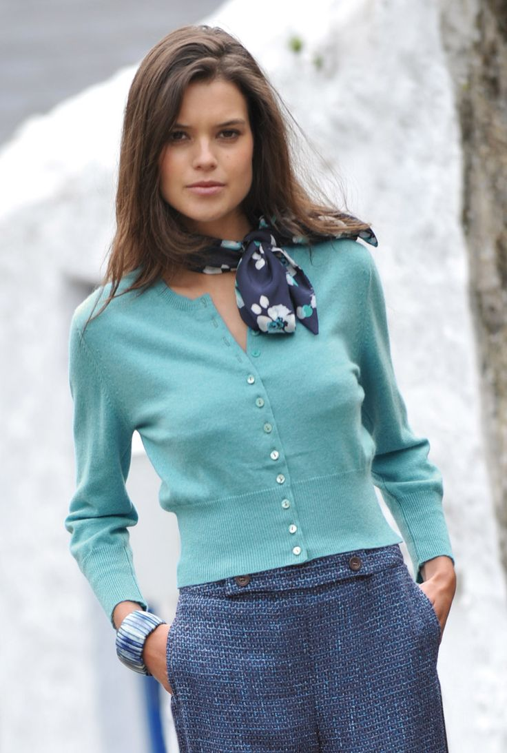 SS13 - Cashmere Cropped Cardigan in Turquoise