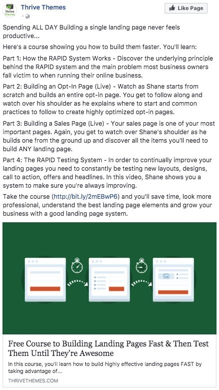 Facebook Ad for Free Course to Building Landing Pages Fast