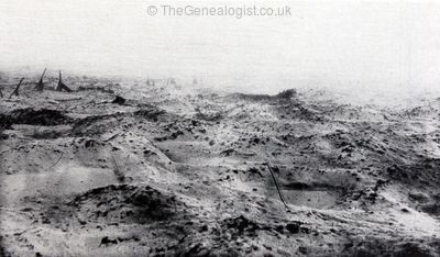 1916-17 WW1, Winter on the Somme, No Man's Land under snow. ©TheGenealogist.co.uk