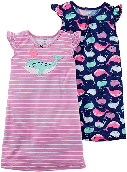 821c6e625 Amazon.com  Carter s Little Girls  2 Pack Knee Length Nightgowns (2 ...