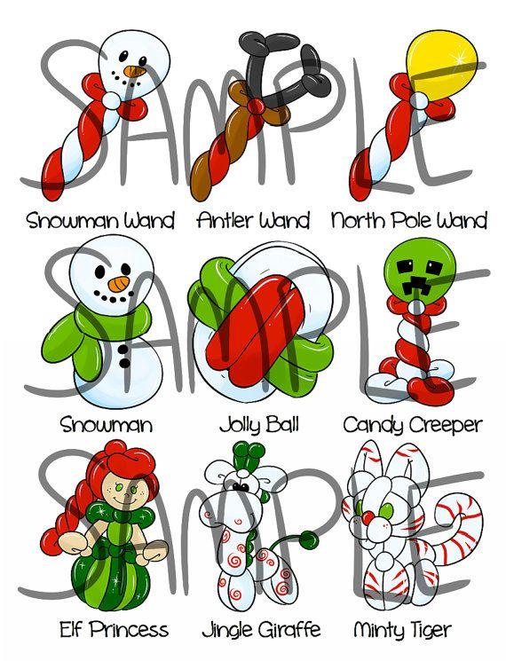Christmas balloon twisting menu on etsy. https://www.etsy.com/listing/253629294/on-sale-christmas-balloon-menu-part-2