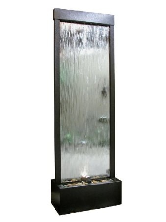 $675.00 6ft Tall Silver Mirror Floor Fountain with Decorative Stones & Light. See More Indoor Water Fountains at http://www.zbuys.com/level.php?node=3944=indoor-water-fountains