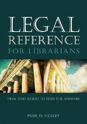 Legal reference for librarians : how and where to find the answers / Paul D. Healey. Chicago : ALA Editions, American Library Association, 2014. This book provides a concise orientation on legal research, including strategies for finding information quickly and a handpicked compendium of the best resources; offers guidance on how to provide advice on legal research while steering clear of liability; and covers federal legal reference as well as all 50 states.Paul, 2014, Healey, Librarians Lists, Book, Finding, Answers, Legally Reference, Reading Lists