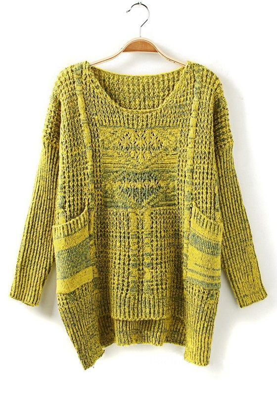 Yellow Geometric Pockets Hollow-out Asymmetric Wool Blend Sweater