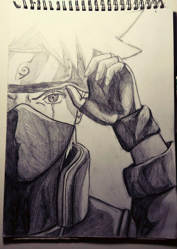 Kakashi, sharingan. Pencil drawing learning to draw