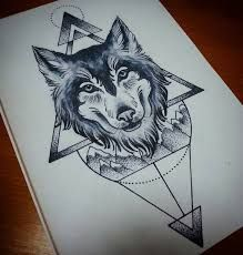Image result for geometric wolf tattoo design