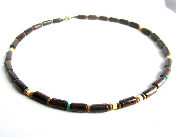 Mens wood beaded necklace mens ethnic necklace brown wood