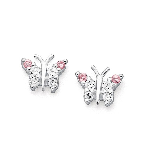 Sterling Silver Pink & White Cubic Zirconia Butterfly Studs