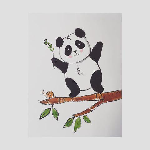 🐼 #babyroom #homedecor #panda #doodle #cute #drawing #draw #artsy #artwork #artoftheday #art #artist #paintwall #interiordesign #love #kawaii