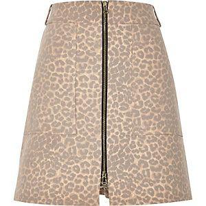 Roze A-lijn rok met vervaagde luipaardprint
