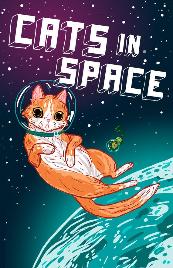 Cats in SPACE by amillustration @ Etsy, $6.00.