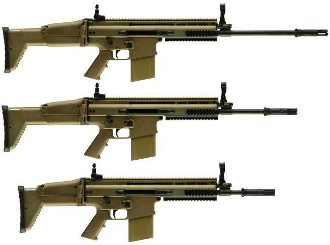 "SCAR-Hs. Top LB with 20"" barrel. Middle STD with 16"" barrel. Bottom CQC with 13"" barrel. LB = Long Barrel. STD = Standard. CQC = Close Quarters Combat. jdm"