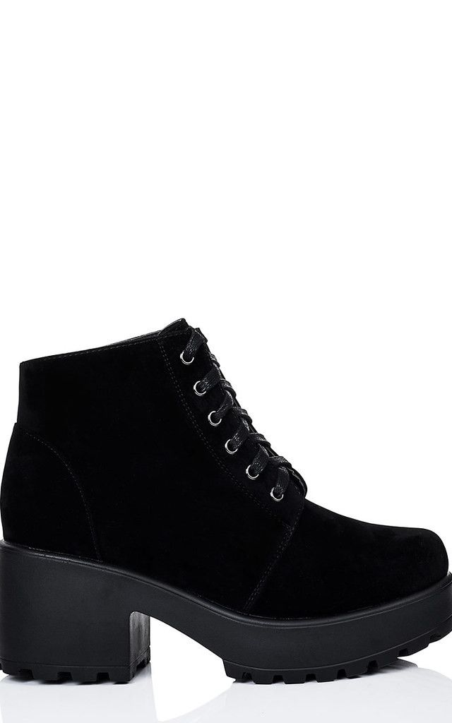 b5c139df186 Hothead Lace Up Cleated Sole Platform Block Heel Ankle Boots Shoes ...