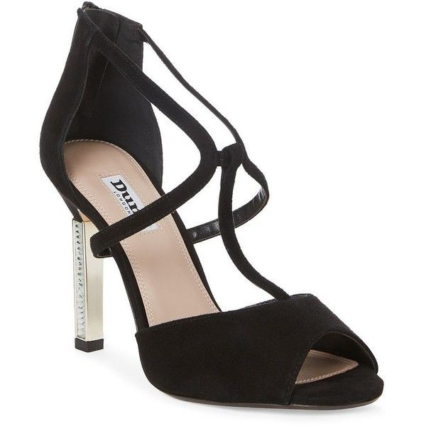 Dune London Women's Melody Jeweled Suede Heel Pumps (755 MXN) ❤ liked on Polyvore featuring shoes, pumps, black, black peep toe pumps, black t strap shoes, peep toe shoes, t-strap shoes and metallic pumps