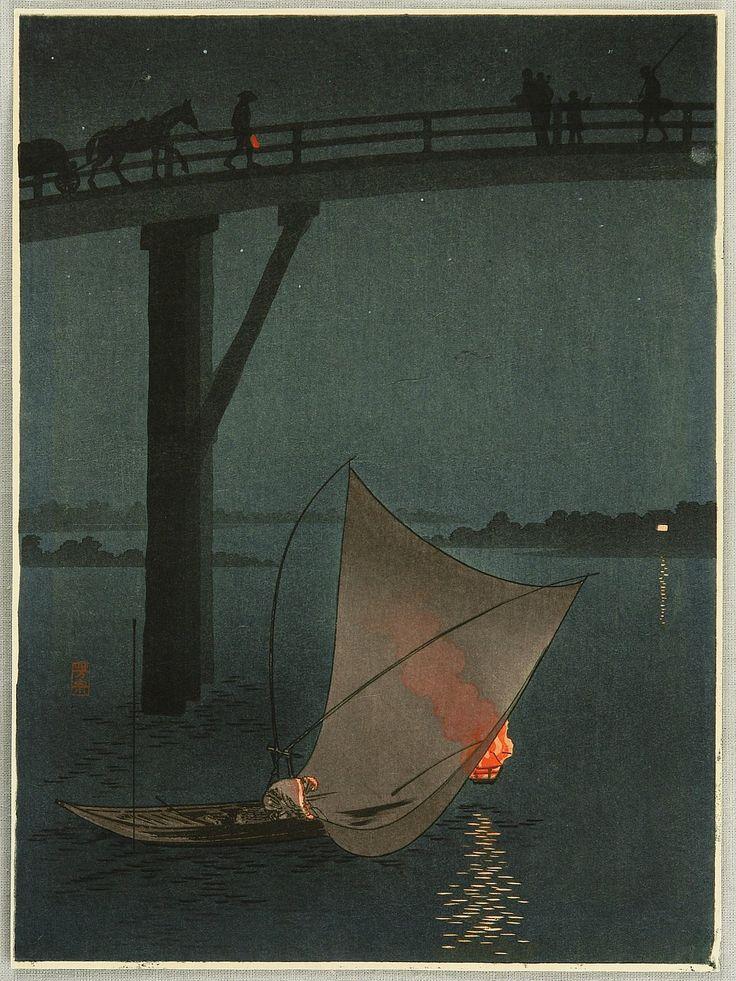 Fishing Boat - Night Scene Series by Yoshimune Arai (1873-1945)