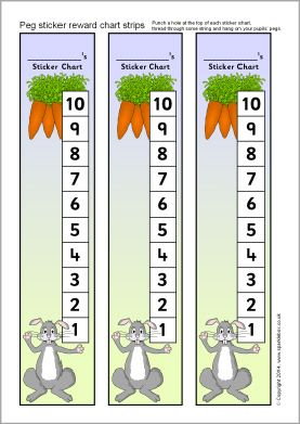 Rabbit-themed peg sticker reward chart (SB10247) - SparkleBox