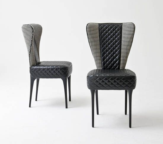 Modern wing back dining or occasional chair