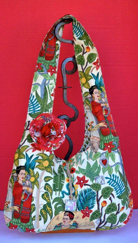 Large Reversible Hobo Style Bag Frida Kahlo by OliviabyDesign, $42.00