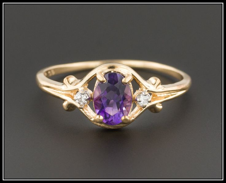 Vintage Amethyst Ring | Amethyst & Diamond Ring | February Birthstone | 14k Gold Ring | 14k Gold Amethyst Ring | Vintage Ring by TrademarkAntiques on Etsy https://www.etsy.com/listing/481369323/vintage-amethyst-ring-amethyst-diamond