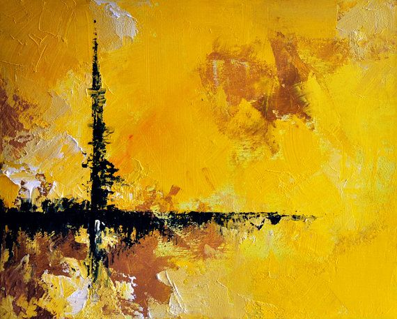 Cross roads original abstract oil painting 13x16