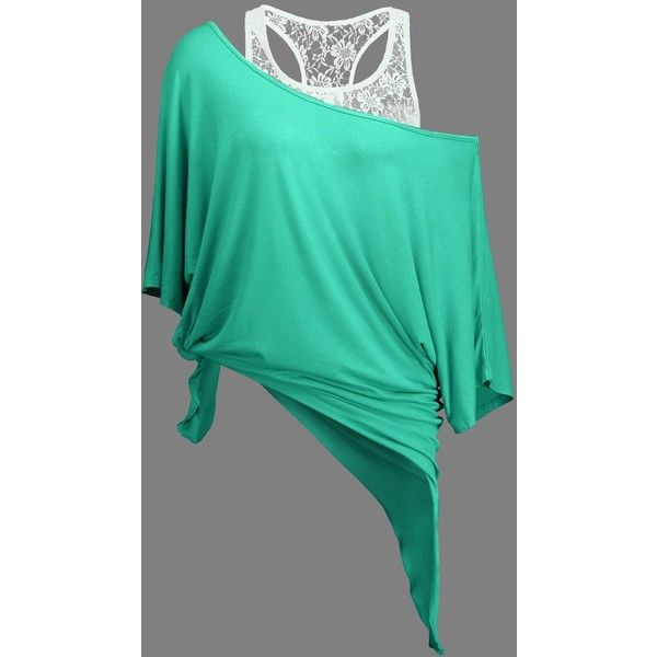 Handkerchief Batwing T Shirt with Lace Tank Top ($18) ❤ liked on Polyvore featuring tops, green top, lace tank, batwing tops, lace top and lacy tank tops