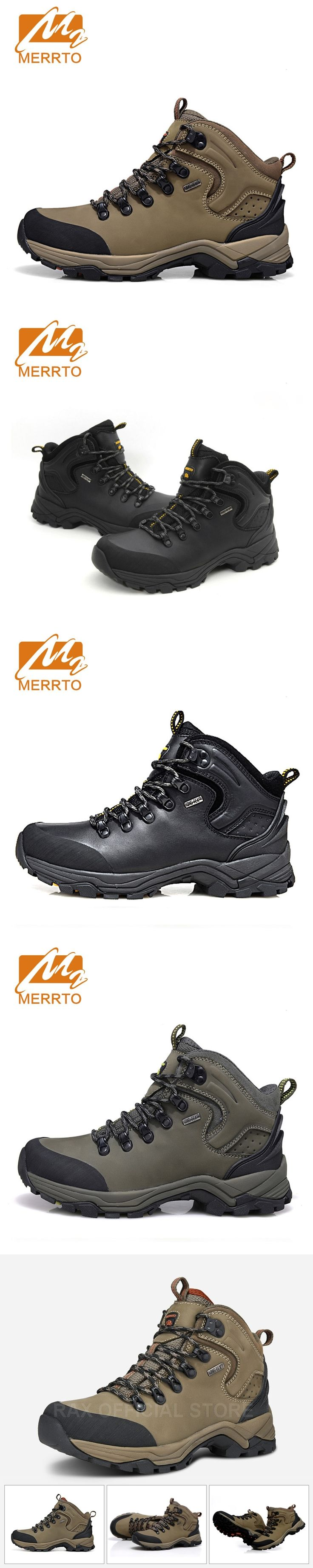 MERRTO Brand Man Genuine Leather Waterproof Hiking Boots Outdoor Hiking Shoes For Men Women Breathable Walking Trekking Shoes