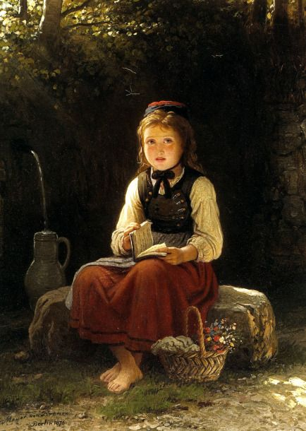 """""""A Young Girl At The Well"""", by Johann Georg Meyer von Bremen (German, 1813-1886)... (looks frightened to me)"""