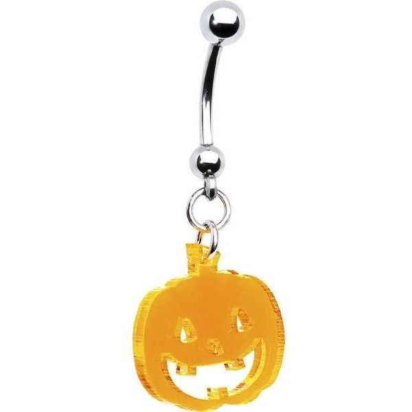 Neon Orange Pumpkin Belly Ring ❤ liked on Polyvore featuring jewelry, rings, belly rings, belly button rings jewelry, belly ring jewelry, neon belly button rings and orange ring