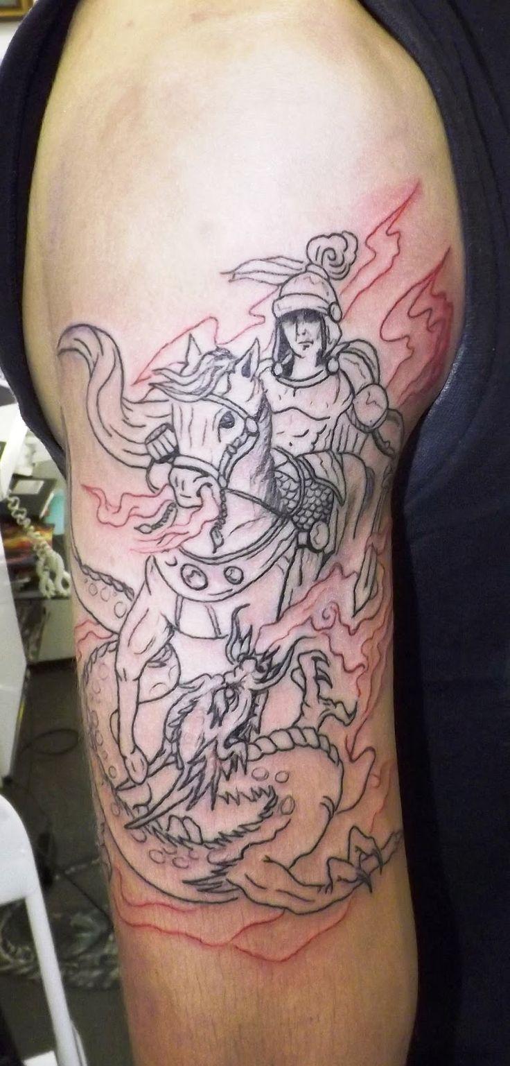 Fabiano tatuagem: Tattoo -  São jorge com o dragão (1°sessão)