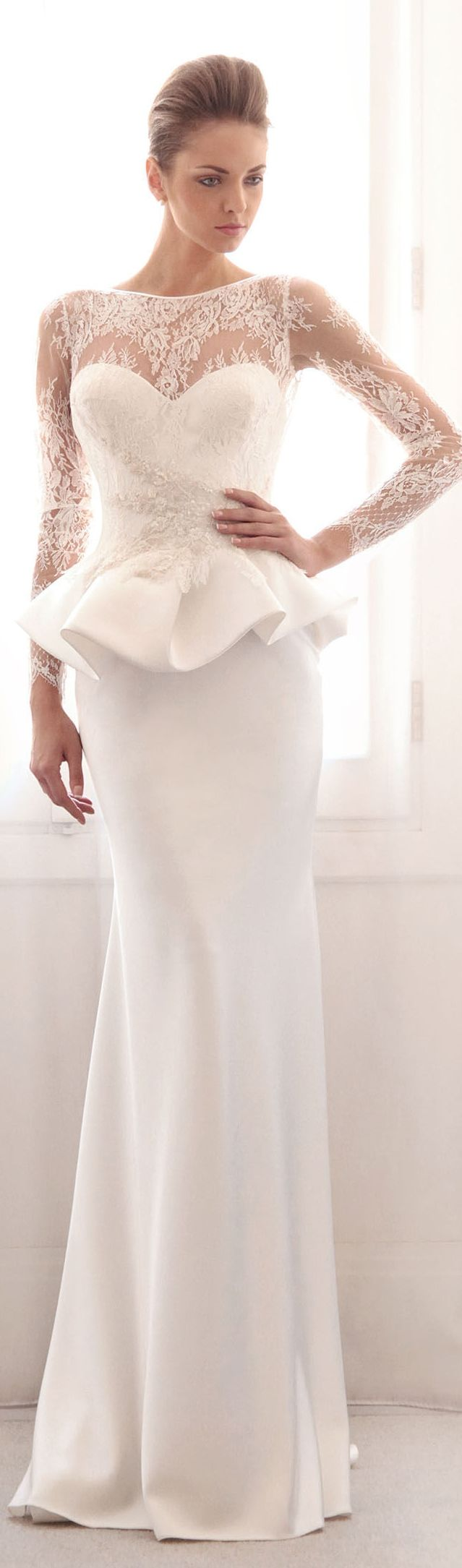 Gorgeous peplum wedding dress. Gemy Maalouf Bridal S/S 2014