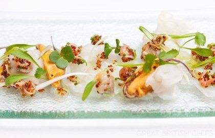 Alaska halibut ceviche with shellfish and spring onion dressing and scorched baby gem lettuce - Dave Watts