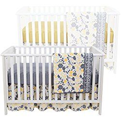 Yellow Tulip 4 Piece Baby Crib Bedding Set - Skirt, Coverlet and Two Sheets