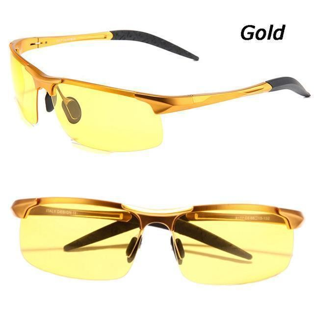 Gold Aluminium Mens Polarized Sunglasses Night Anti-glare Driving Eyewear Goggles