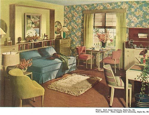 1940s decor 32 pages of designs and ideas from 1944 for Retro style living room ideas