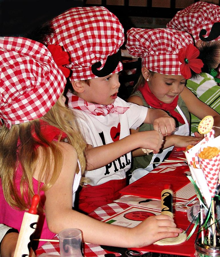 """cute idea for kiddo's (boys and girls) party... A make your own """"Pizza"""" party - love the mustaches!"""
