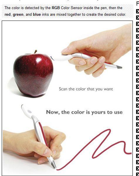 Color Picker Pen nimmt die Farbe auf