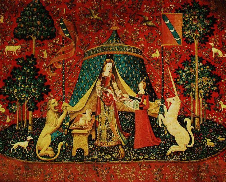 «Allegoria della Vista»-Manifattura francese. 1495. Arazzo della serie nellaDama col liocorno.Parigi. Musée National du Moyen Àge Come è tipico dello stile degli arazzi, la decorazione del fondo non cerca affatto il senso prospettico della profondità, ma accoglie motivi sovrapposti come su un tappeto ricamato. L'atmosfera da fiaba e il particolareggiato gusto per i dettagli più minuti, eleganti e raffinati, segnano gli ultimi anni del XV secolo, ormai la fine dell'autunno del Medioevo…