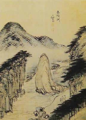 (Korea) 화적연 in Pocheon province, 해악전신첩 by Gyeomjae Jeong Seon (1676- 1759). ca 18th century CE. color on silk. 25.1×32.2cm. Gansong gallery, Korea. 화적연.