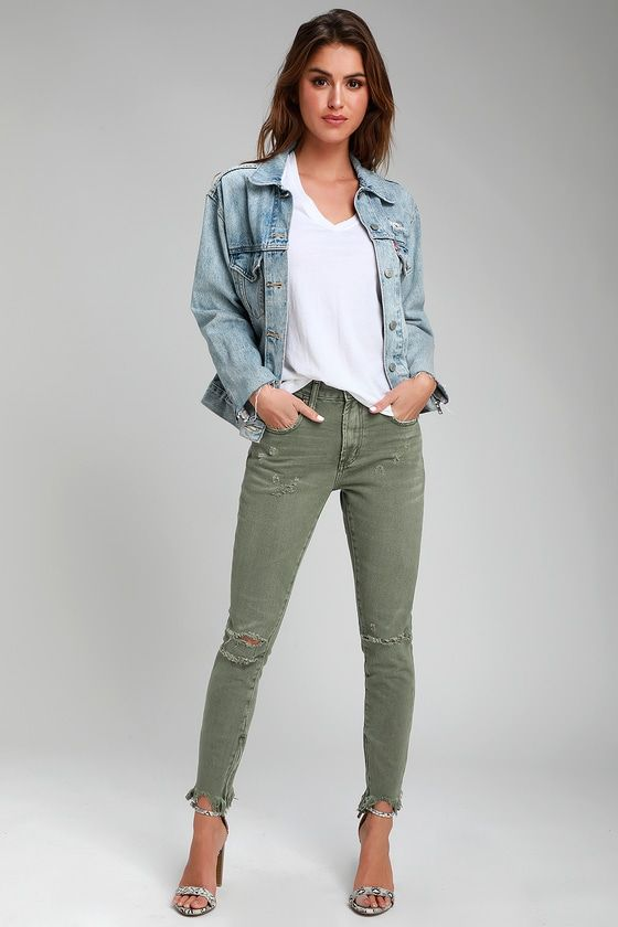 Freebirds Olive Inexperienced Excessive-Waist Distressed Skinny Denims