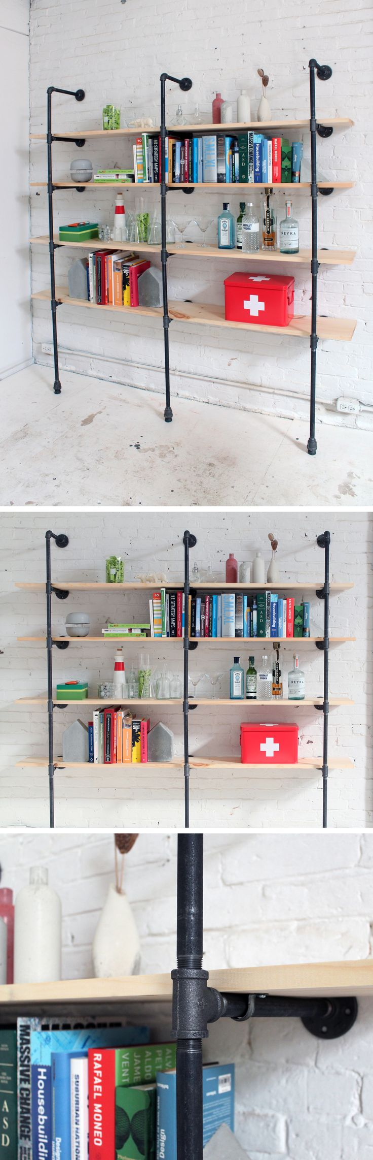 Shelves made out of iron pipe fittings are not cheap but are a great investment since you can adjust the iron pipe fittings and reshape the shelves to better fit whatever space you need shelving in. Check out the site for the full instructions and material list! http://www.homemade-modern.com/ep47-pipe-shelves/