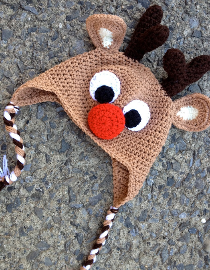 Reindeer Crochet Hat    https://www.etsy.com/listing/117374062/custom-girl-or-boy-reindeer-crochet?ref=v1_other_2