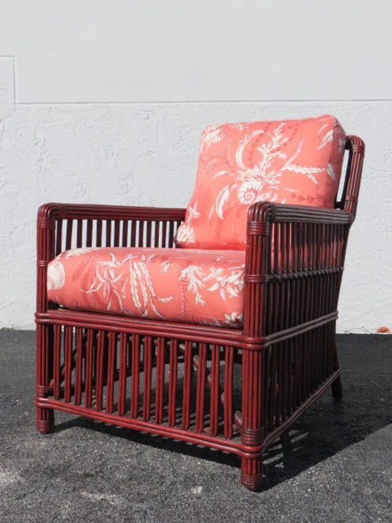 Palecek Rattan Single Lounge Chair With Original Label