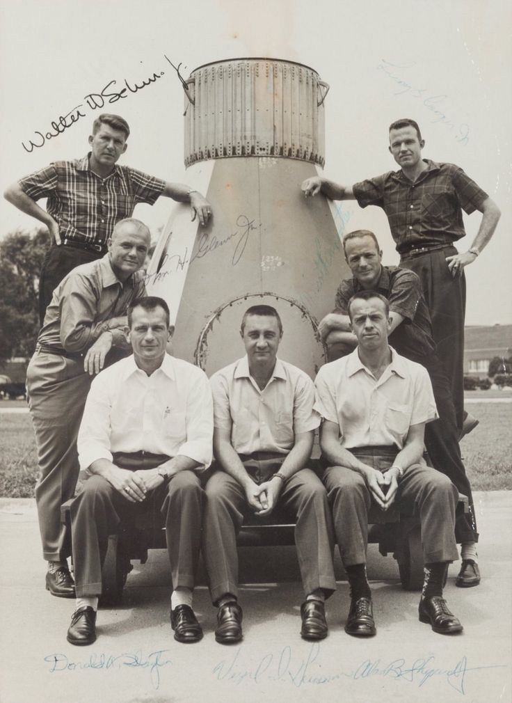The original Mercury Seven astronauts: Wally Schirra, John Glenn, Deke Slayton, Gus Grissom, Alan Shepard, Scott Carpenter, Gordo Cooper.