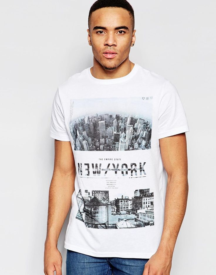 Imagen 1 de Camiseta blanca con estampado NYC de New Look