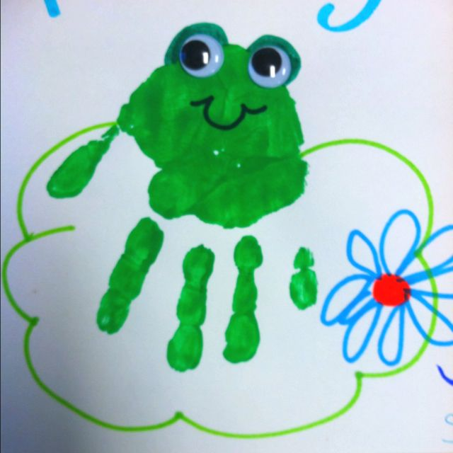 Handprint frog frogs pinterest frogs for Frog crafts for preschoolers