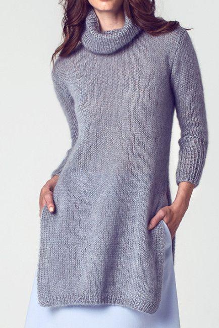 Long elegant mohair turtleneck tunic sweater w/ side slits FREE knitting pattern in German (1/2)  (hva)