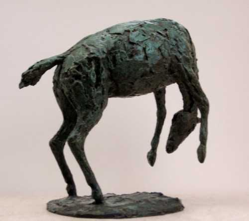 #Bronze #sculpture by #sculptor Jill Tweed titled: 'RODEO (Small bronze Bucking Bronco/Horse statuette/statues)'. #JillTweed